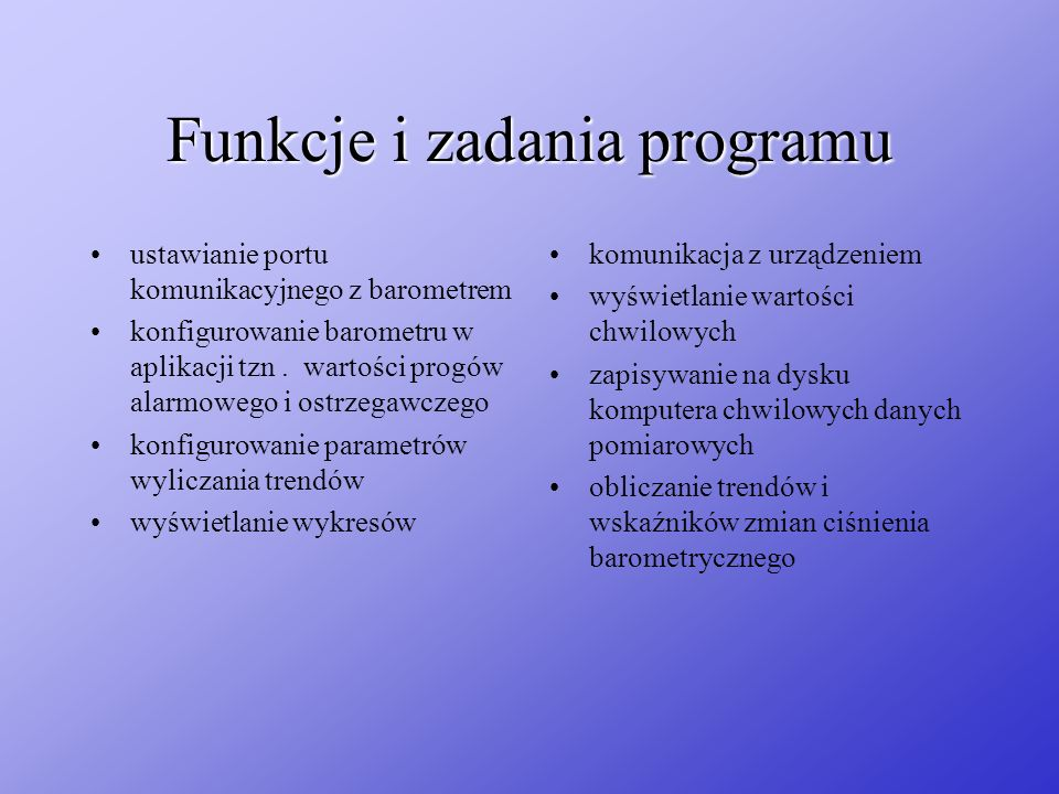Funkcje i zadania programu