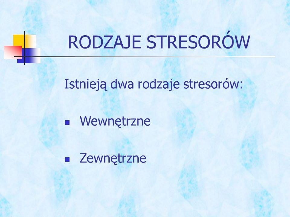RODZAJE STRESORÓW Istnieją dwa rodzaje stresorów: Wewnętrzne