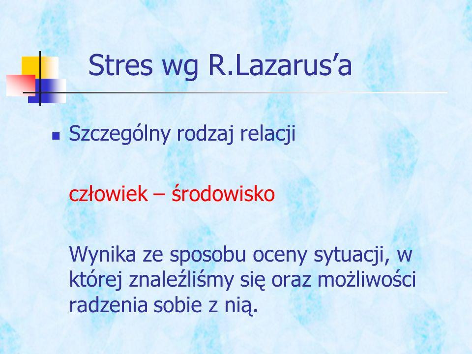 Stres wg R.Lazarus'a Szczególny rodzaj relacji człowiek – środowisko
