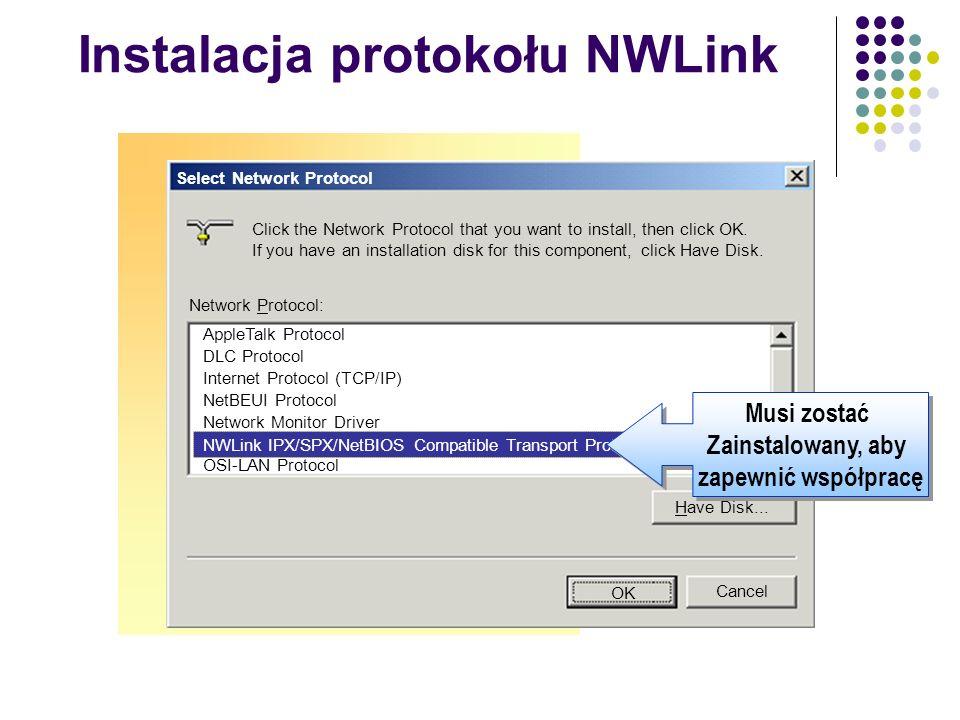 Instalacja protokołu NWLink