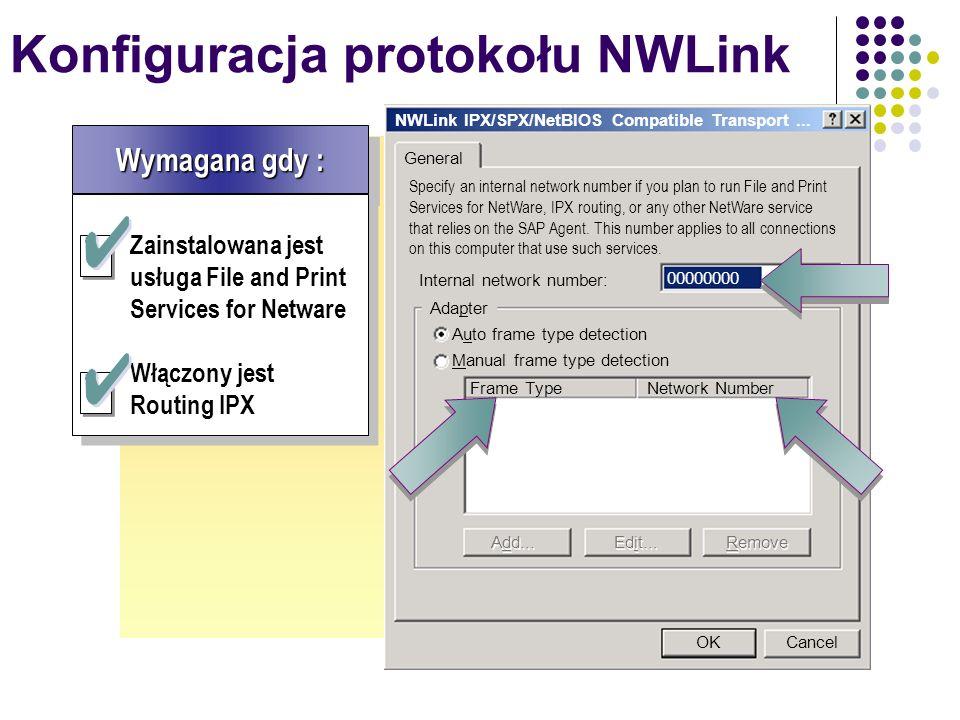 Konfiguracja protokołu NWLink