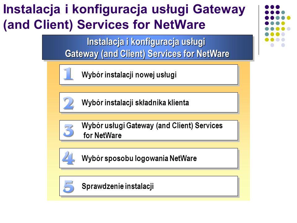 Instalacja i konfiguracja usługi Gateway (and Client) Services for NetWare