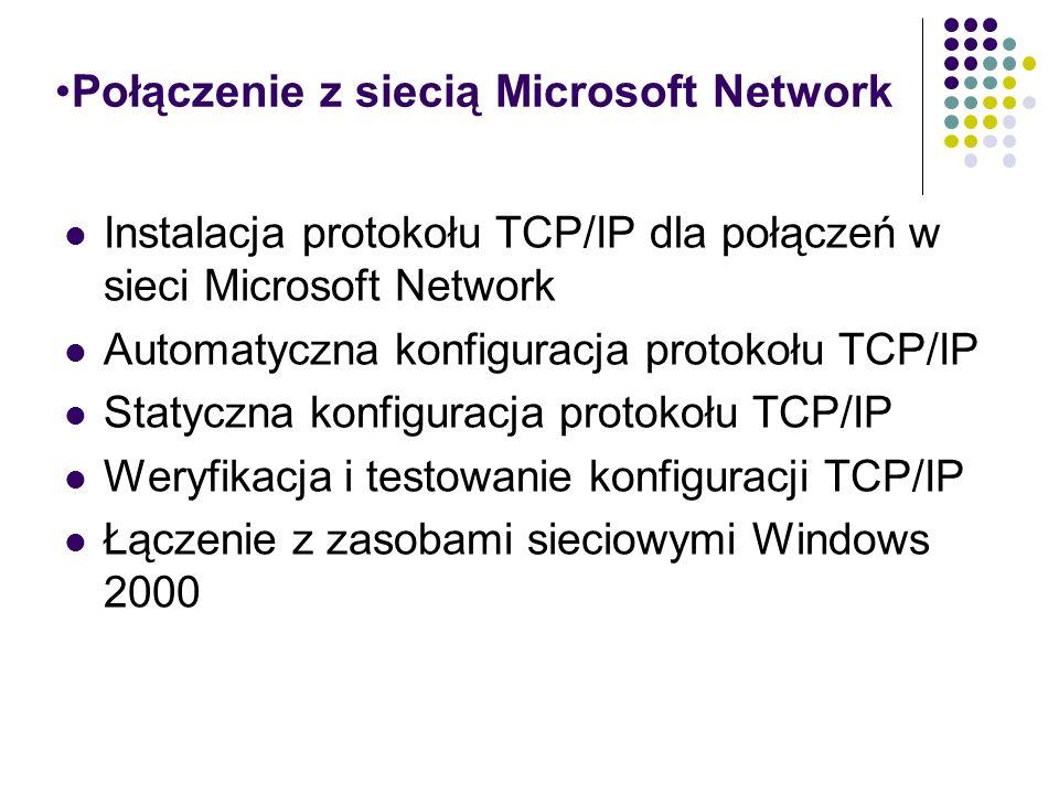Połączenie z siecią Microsoft Network