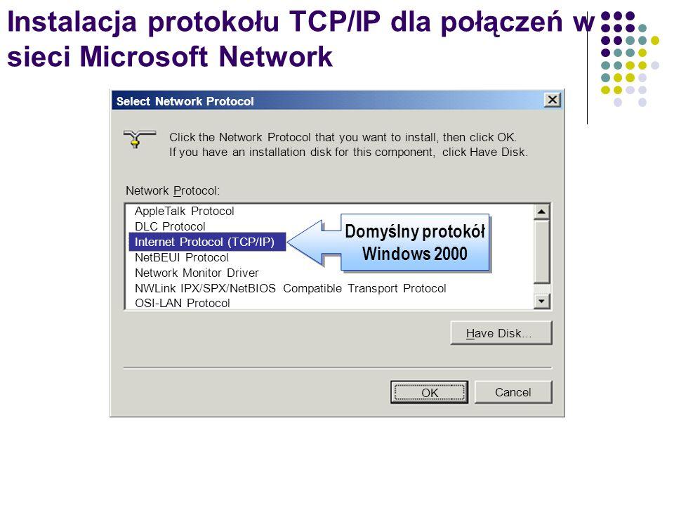 Instalacja protokołu TCP/IP dla połączeń w sieci Microsoft Network