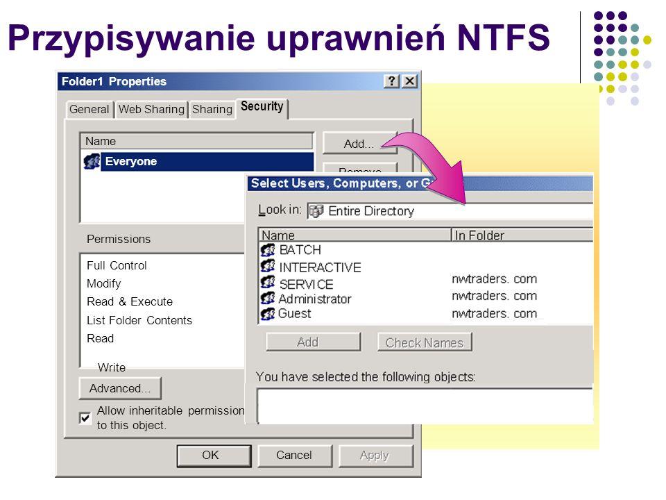 Przypisywanie uprawnień NTFS