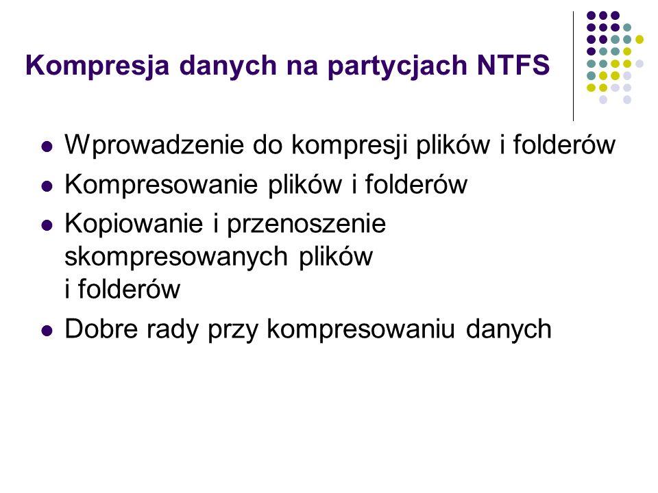 Kompresja danych na partycjach NTFS