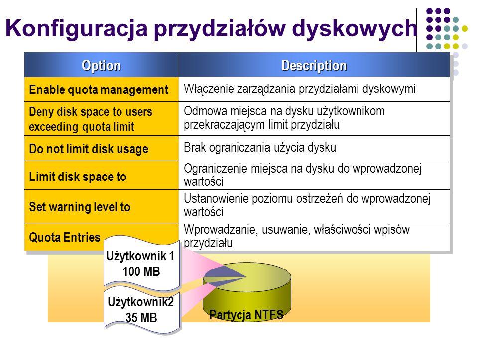 Konfiguracja przydziałów dyskowych