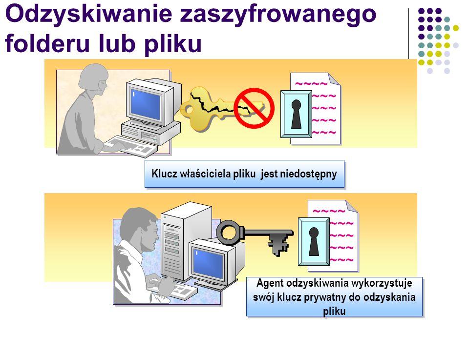 Odzyskiwanie zaszyfrowanego folderu lub pliku