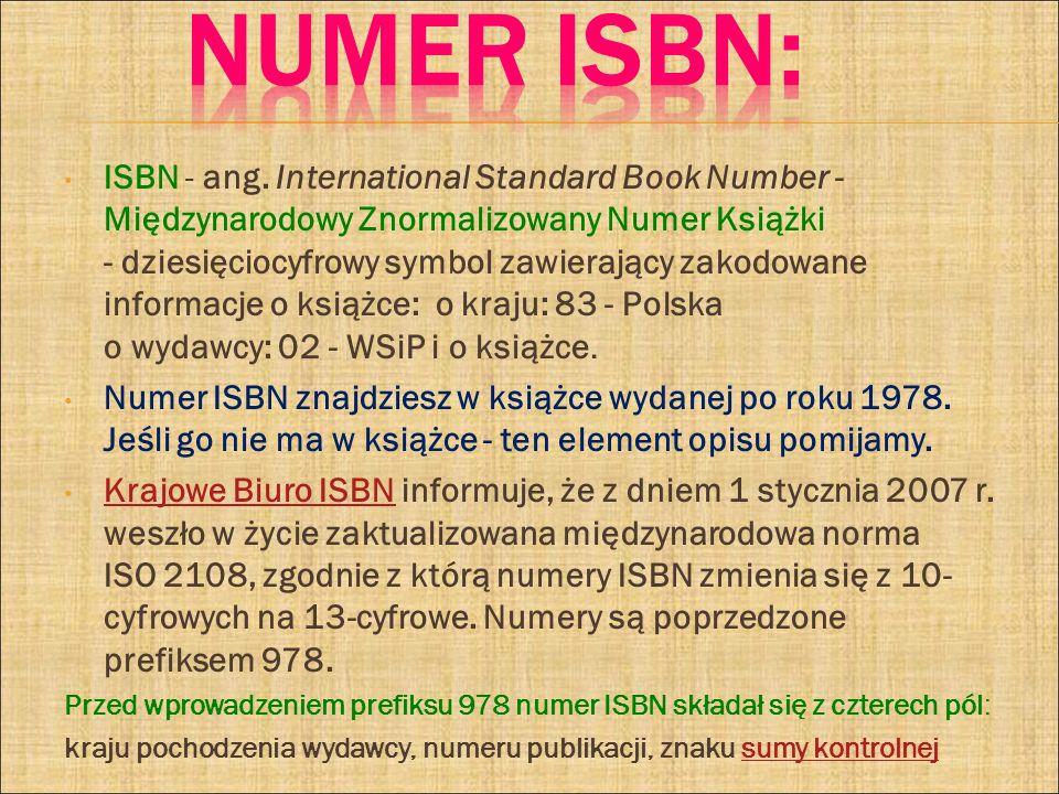 Numer ISBN: