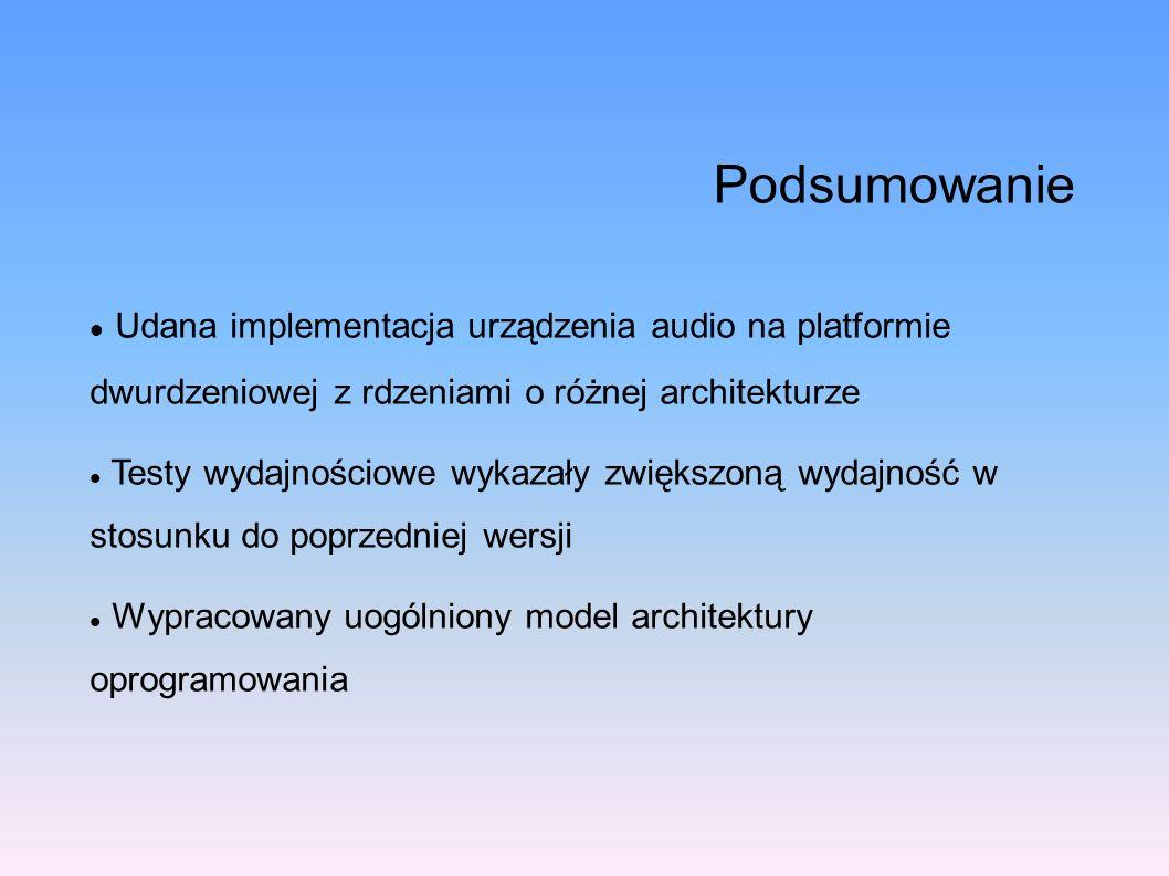 PodsumowanieUdana implementacja urządzenia audio na platformie dwurdzeniowej z rdzeniami o różnej architekturze.