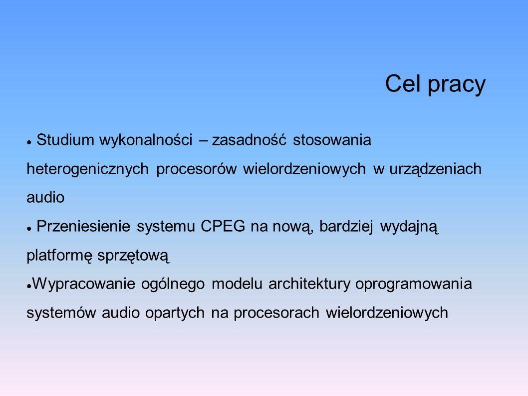 Cel pracyStudium wykonalności – zasadność stosowania heterogenicznych procesorów wielordzeniowych w urządzeniach audio.