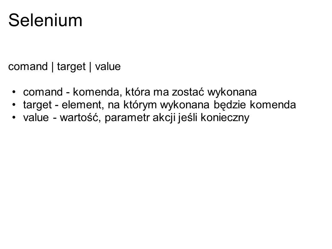 Selenium comand | target | value