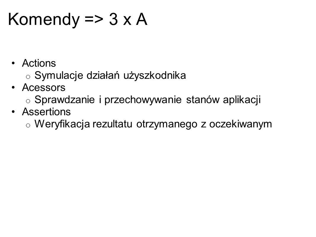 Komendy => 3 x A Actions Symulacje działań użyszkodnika Acessors