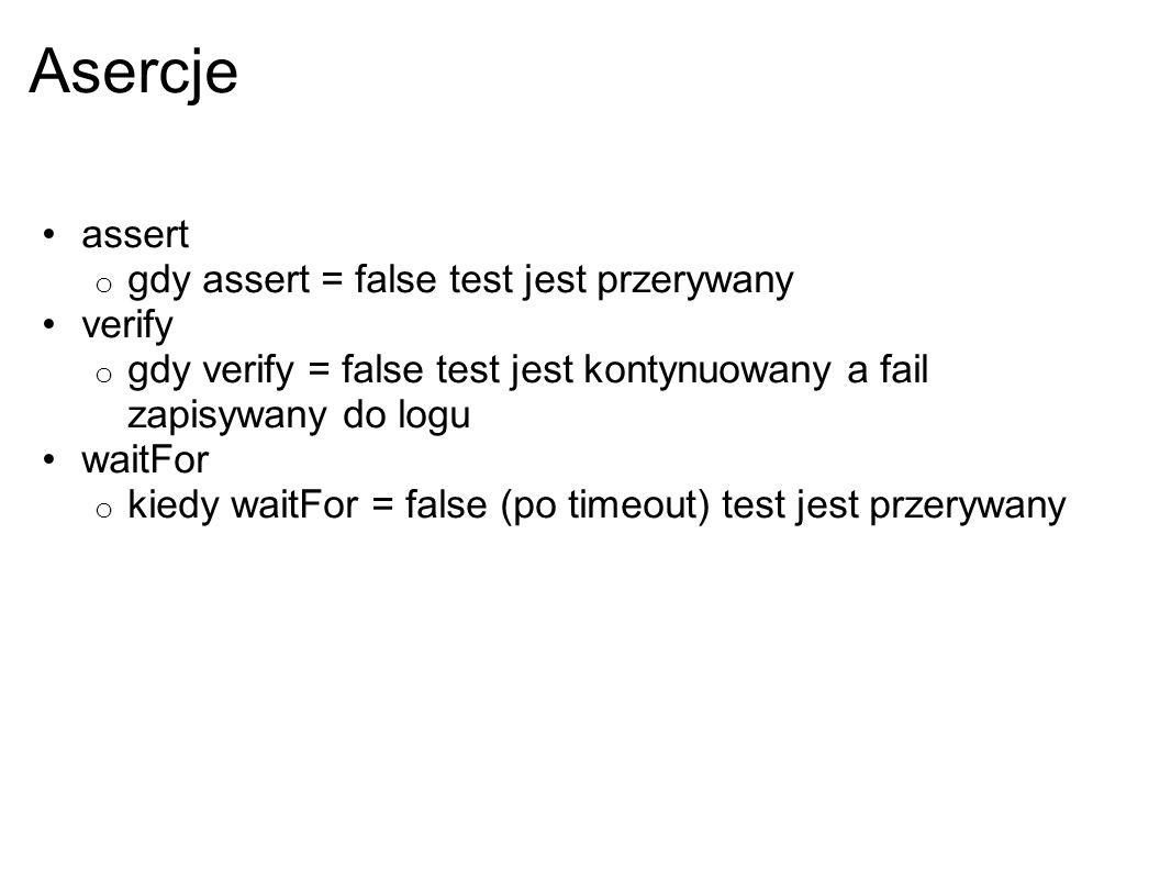 Asercje assert gdy assert = false test jest przerywany verify