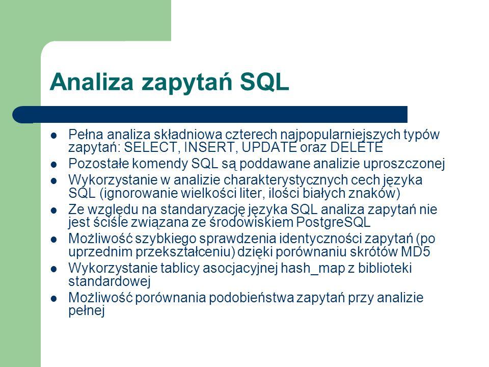Analiza zapytań SQL Pełna analiza składniowa czterech najpopularniejszych typów zapytań: SELECT, INSERT, UPDATE oraz DELETE.