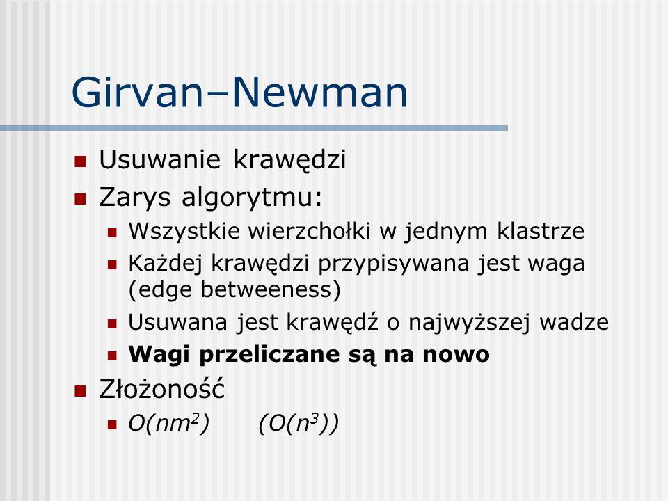 Girvan–Newman Usuwanie krawędzi Zarys algorytmu: Złożoność