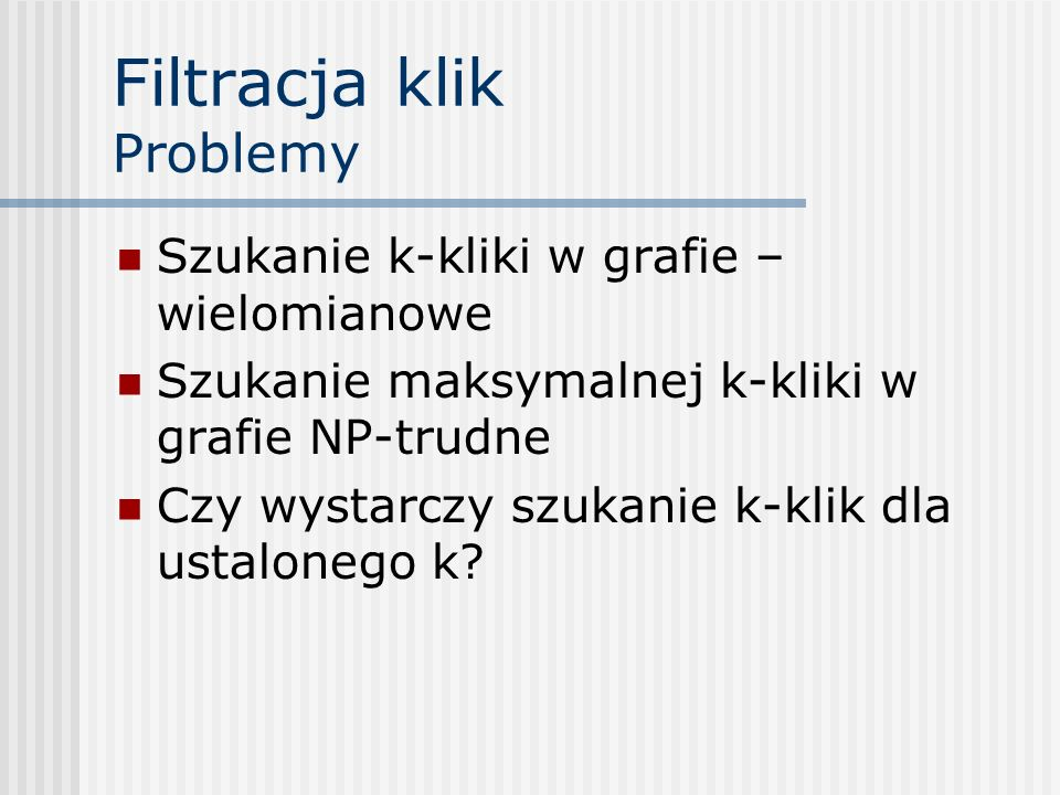 Filtracja klik Problemy