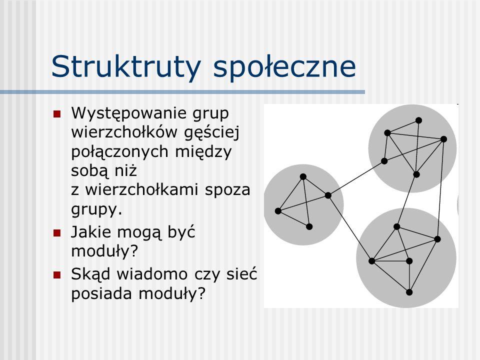 Struktruty społeczneWystępowanie grup wierzchołków gęściej połączonych między sobą niż z wierzchołkami spoza grupy.