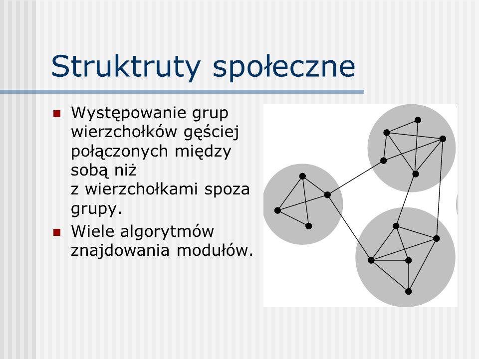 Struktruty społeczne Występowanie grup wierzchołków gęściej połączonych między sobą niż z wierzchołkami spoza grupy.