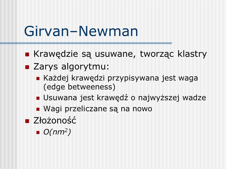 Girvan–Newman Krawędzie są usuwane, tworząc klastry Zarys algorytmu: