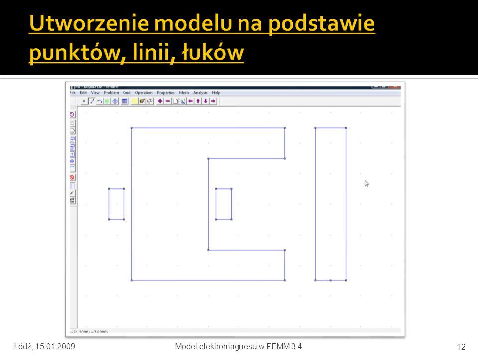 Utworzenie modelu na podstawie punktów, linii, łuków