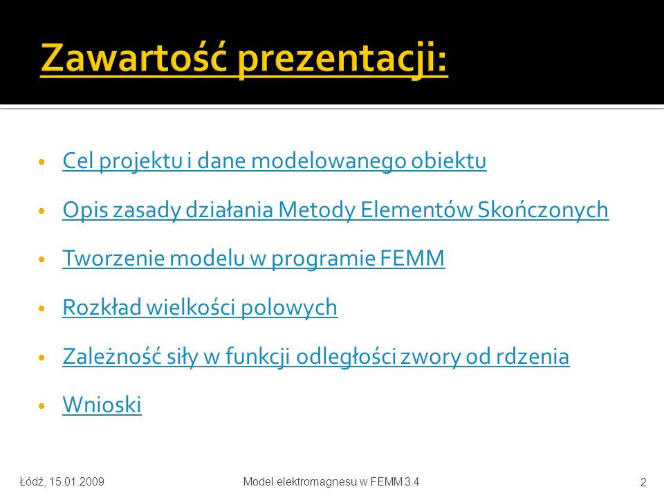 Zawartość prezentacji: