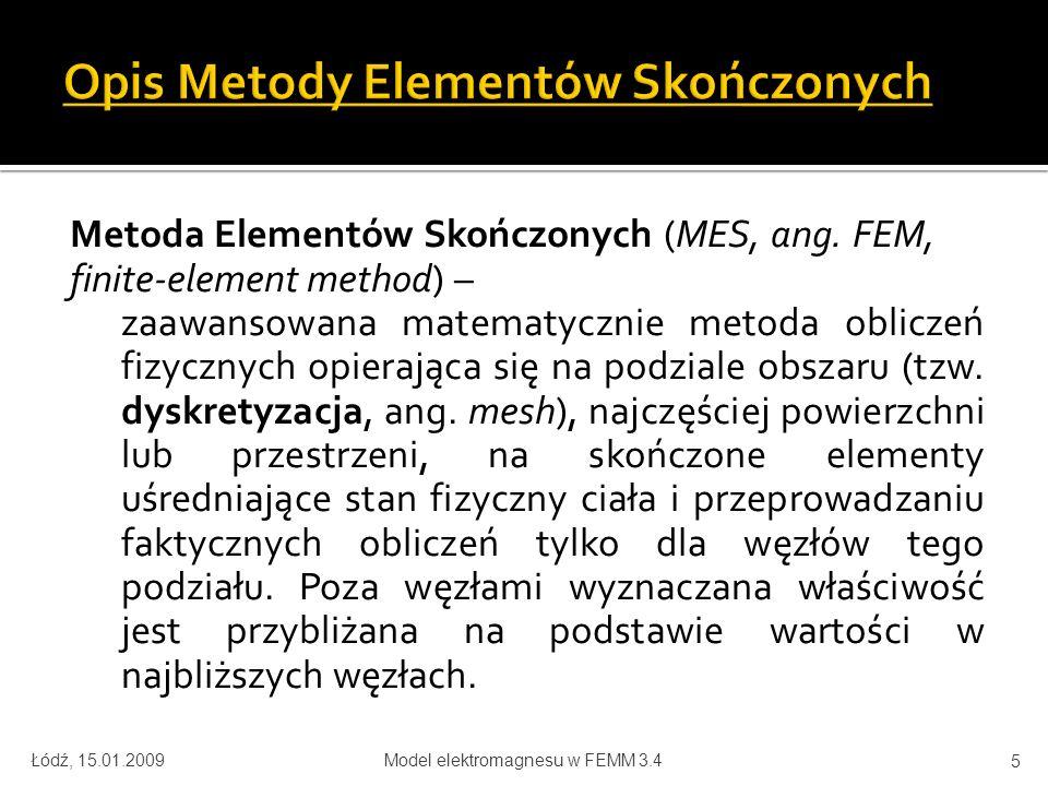 Opis Metody Elementów Skończonych