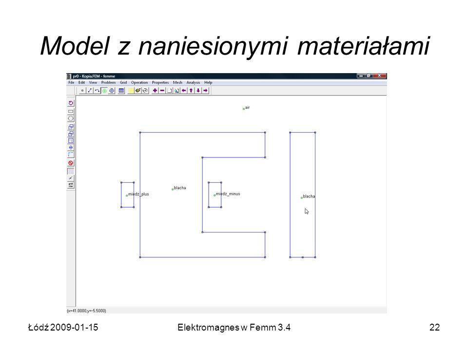 Model z naniesionymi materiałami