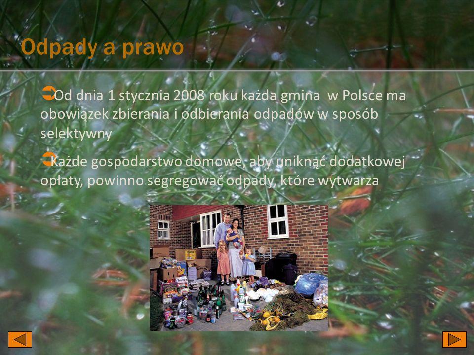 Odpady a prawo Od dnia 1 stycznia 2008 roku każda gmina w Polsce ma obowiązek zbierania i odbierania odpadów w sposób selektywny.