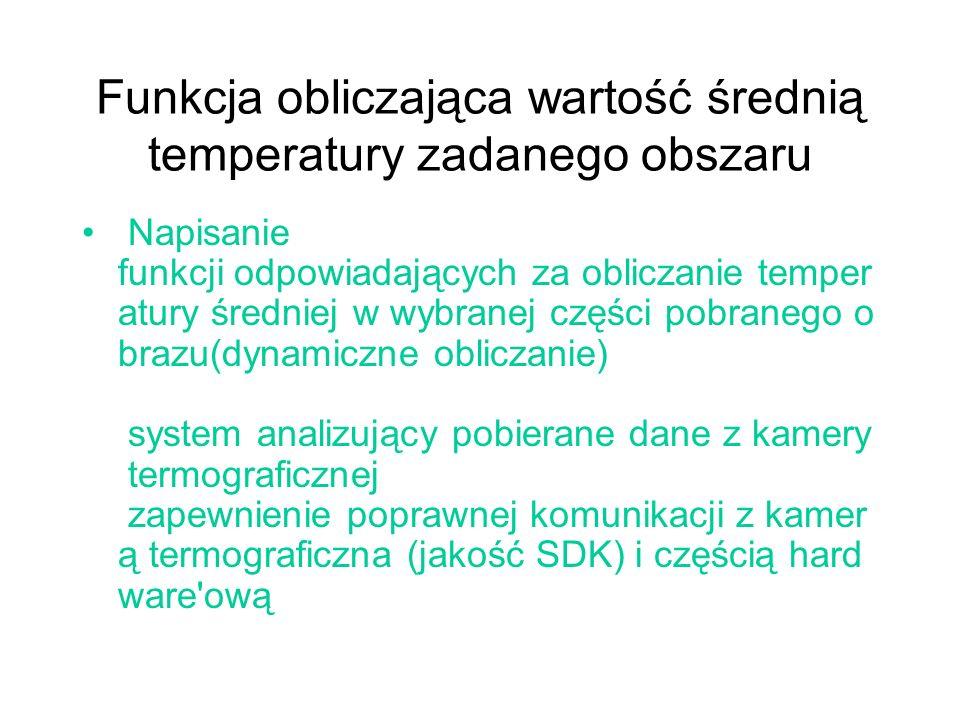 Funkcja obliczająca wartość średnią temperatury zadanego obszaru