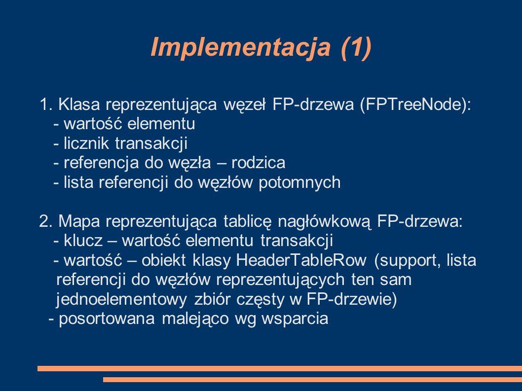 Implementacja (1) 1. Klasa reprezentująca węzeł FP-drzewa (FPTreeNode): - wartość elementu. - licznik transakcji.
