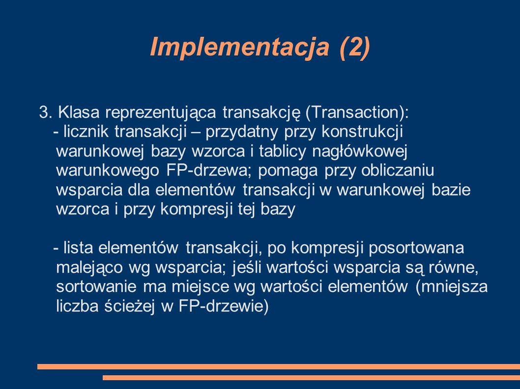 Implementacja (2) 3. Klasa reprezentująca transakcję (Transaction):