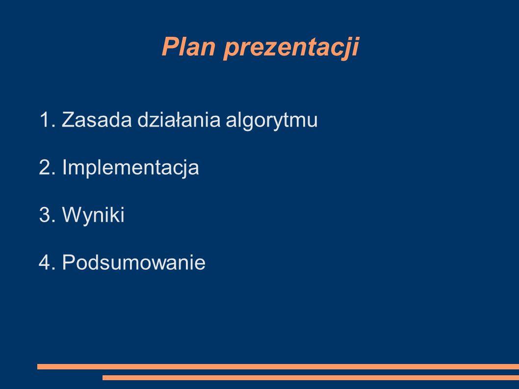 Plan prezentacji 1. Zasada działania algorytmu 2. Implementacja
