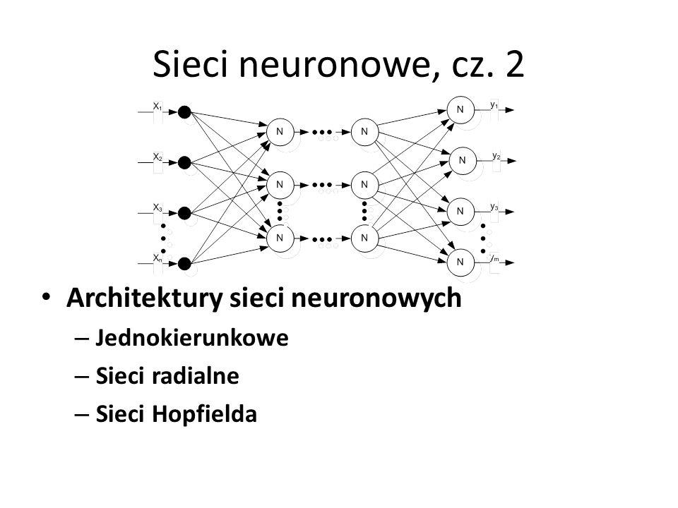 Sieci neuronowe, cz. 2 Architektury sieci neuronowych Jednokierunkowe