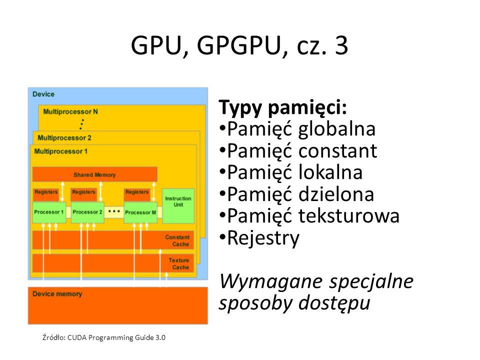 GPU, GPGPU, cz. 3 Typy pamięci: Pamięć globalna Pamięć constant