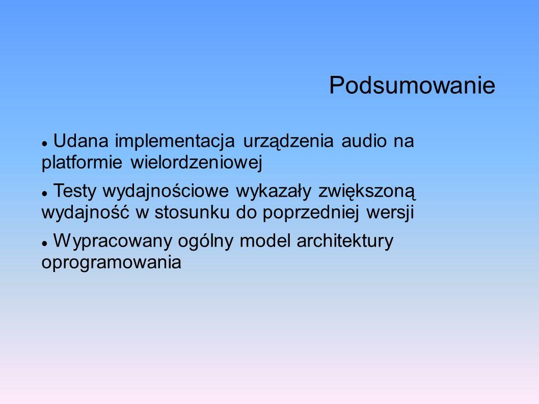 Podsumowanie Udana implementacja urządzenia audio na platformie wielordzeniowej.