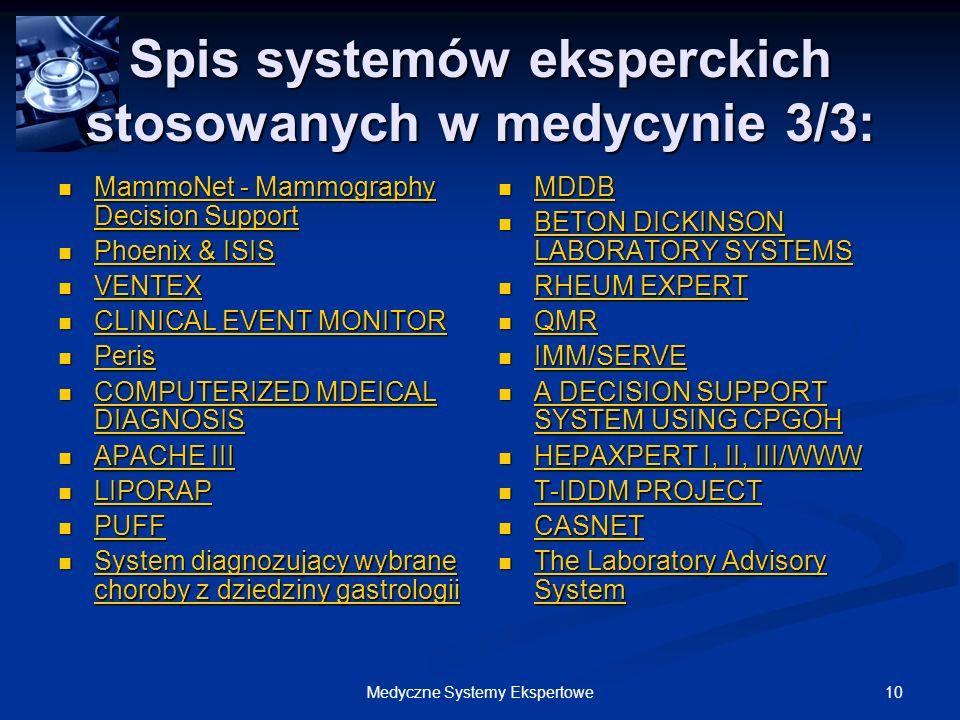 Spis systemów eksperckich stosowanych w medycynie 3/3: