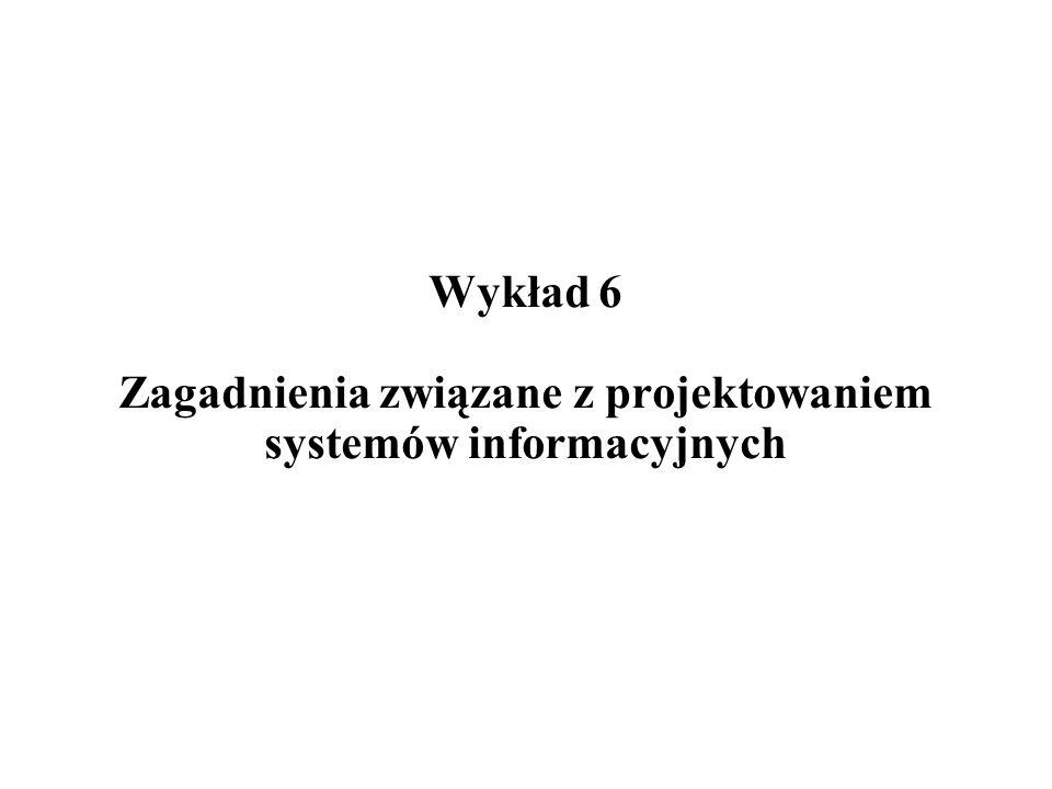 Wykład 6 Zagadnienia związane z projektowaniem systemów informacyjnych
