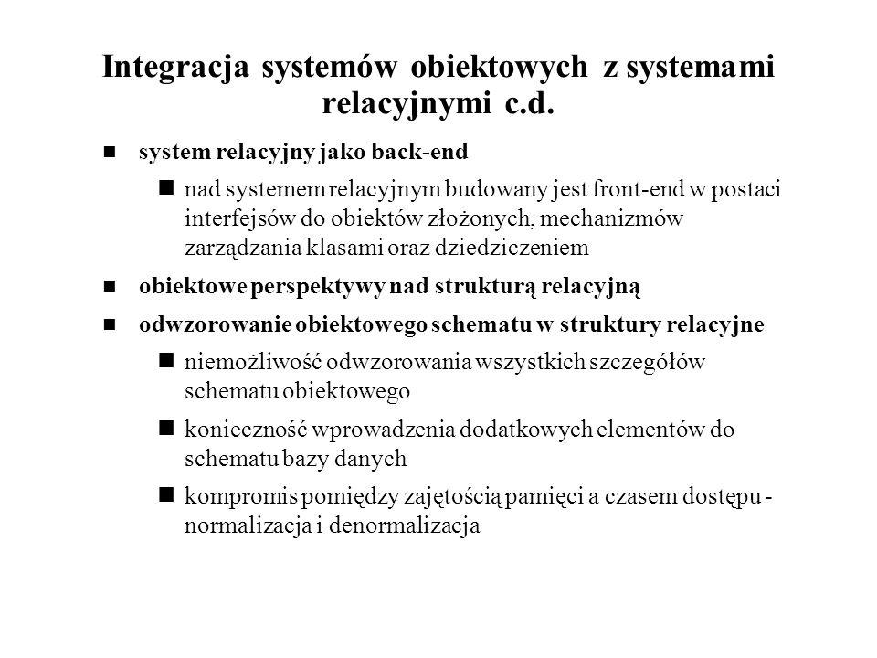 Integracja systemów obiektowych z systemami relacyjnymi c.d.