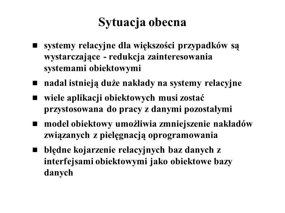 Sytuacja obecna systemy relacyjne dla większości przypadków są wystarczające - redukcja zainteresowania systemami obiektowymi.