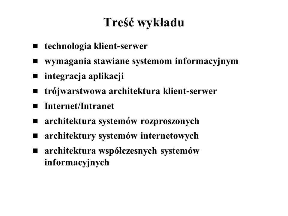 Treść wykładu technologia klient-serwer