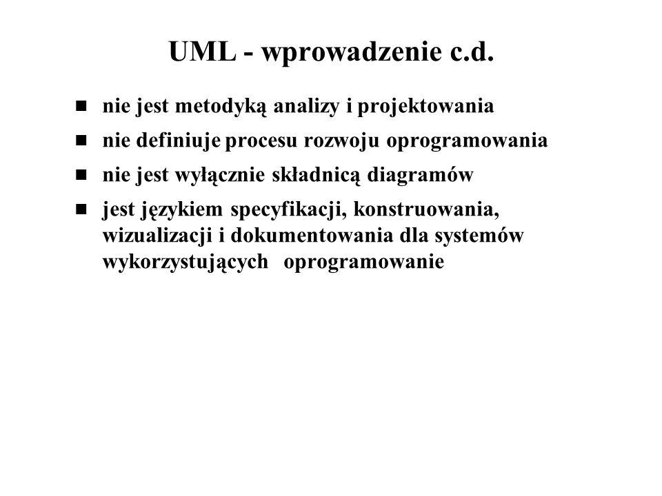 UML - wprowadzenie c.d. nie jest metodyką analizy i projektowania
