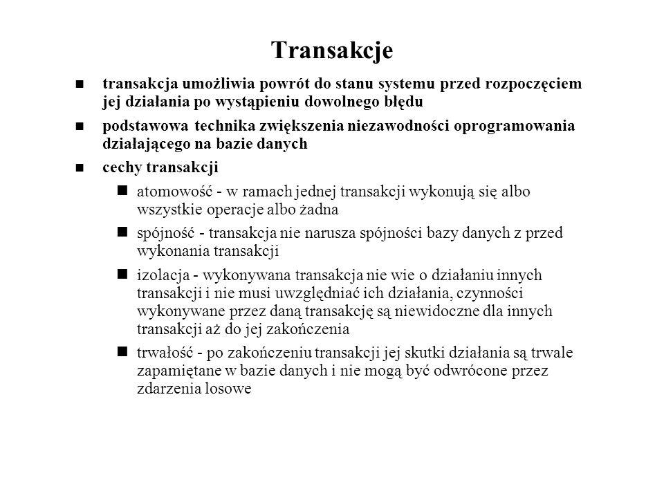 Transakcje transakcja umożliwia powrót do stanu systemu przed rozpoczęciem jej działania po wystąpieniu dowolnego błędu.