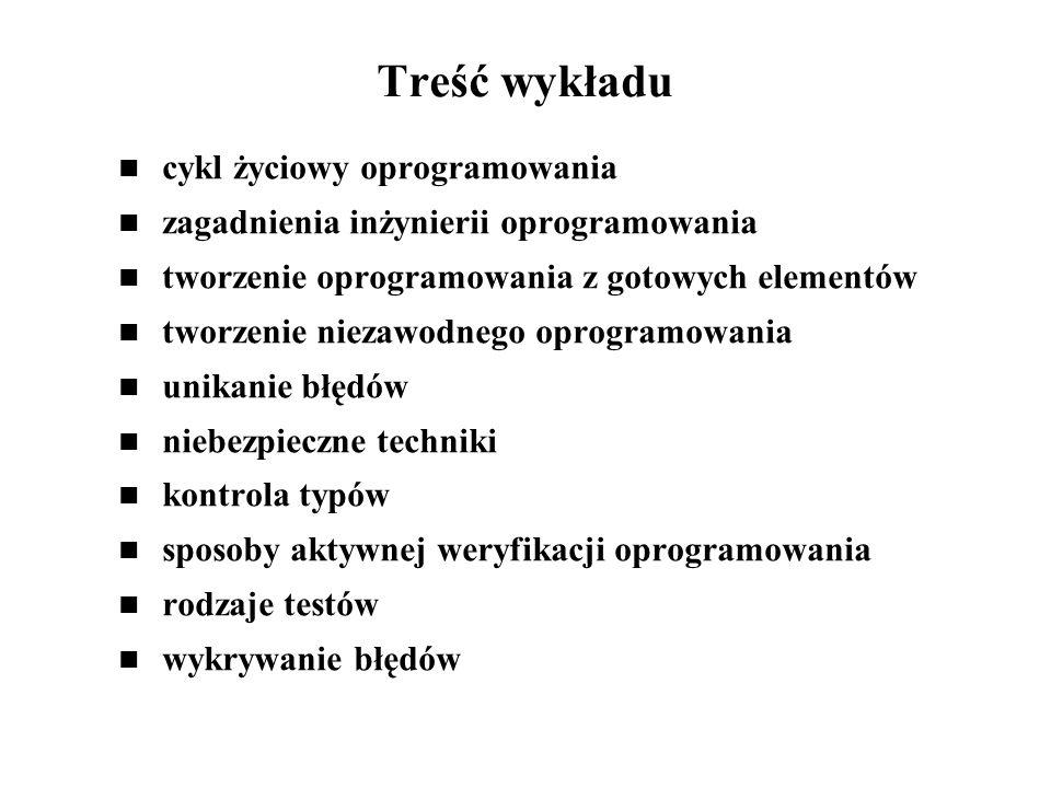 Treść wykładu cykl życiowy oprogramowania
