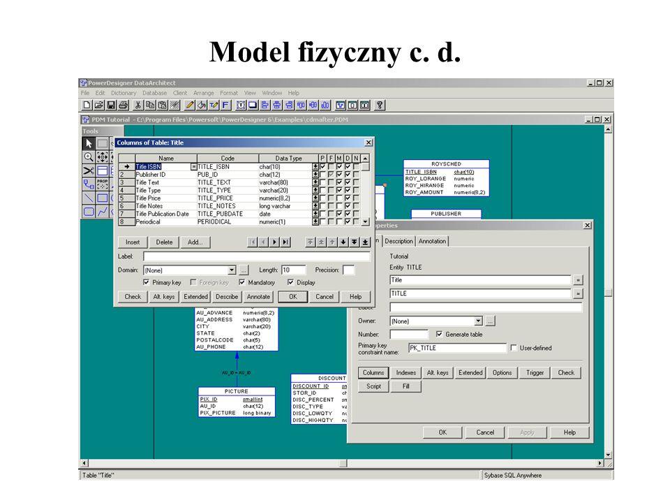 Model fizyczny c. d.