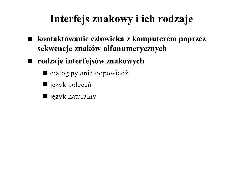Interfejs znakowy i ich rodzaje