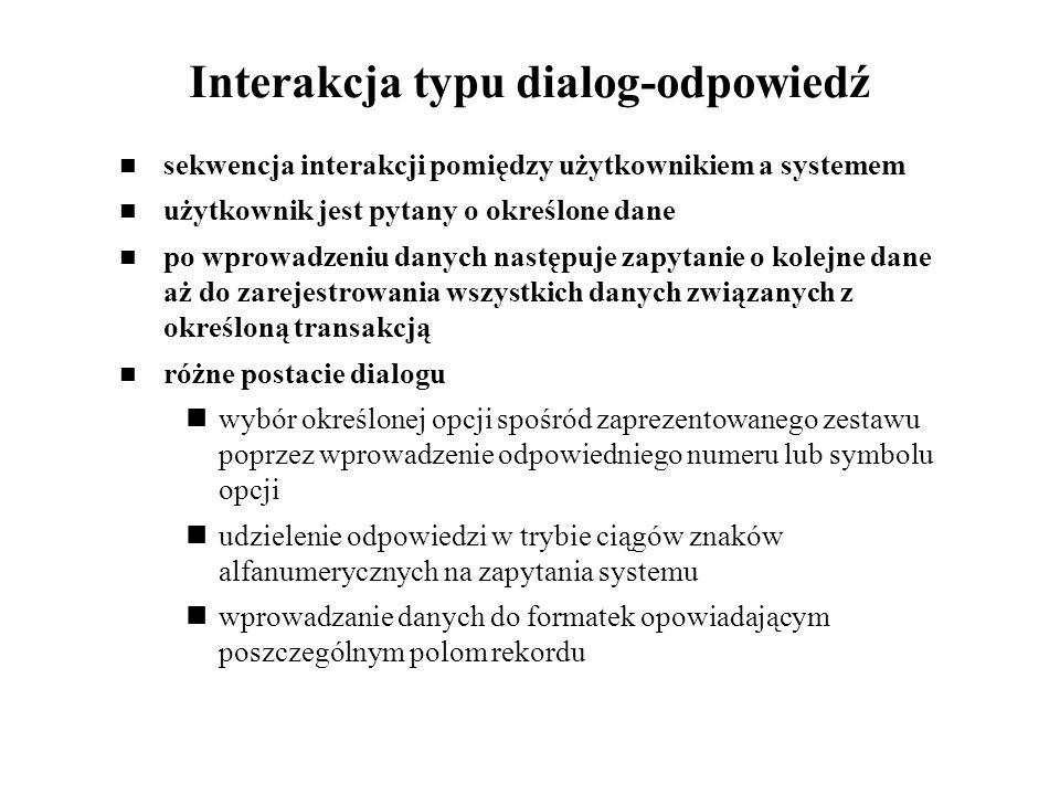 Interakcja typu dialog-odpowiedź