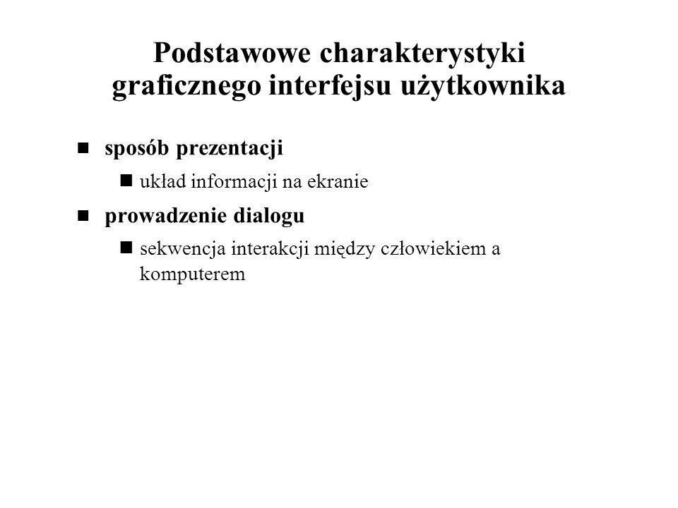 Podstawowe charakterystyki graficznego interfejsu użytkownika