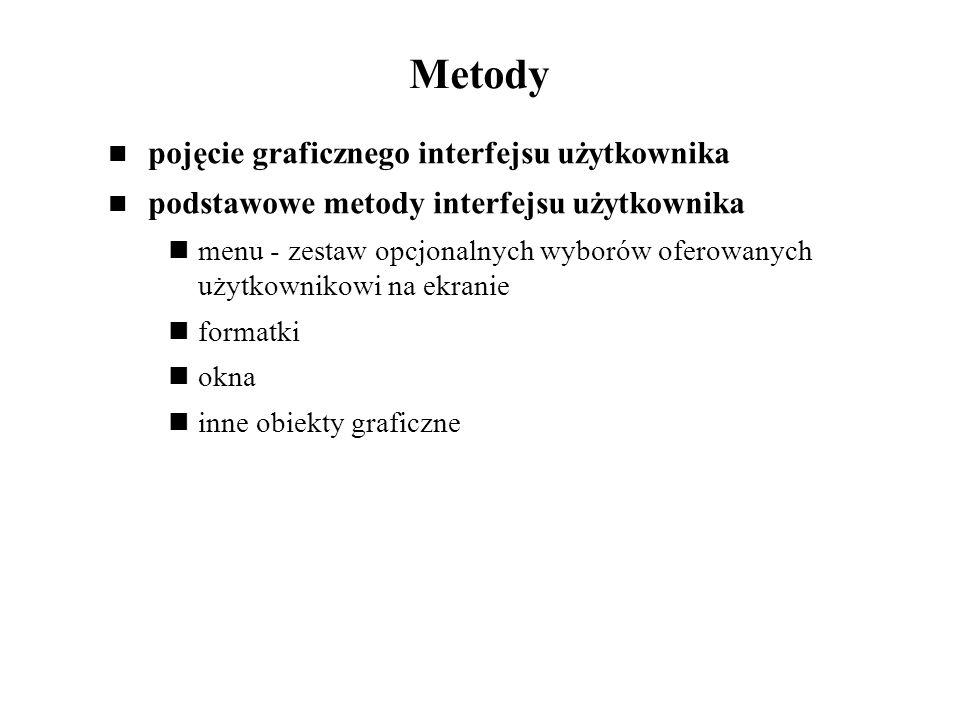 Metody pojęcie graficznego interfejsu użytkownika
