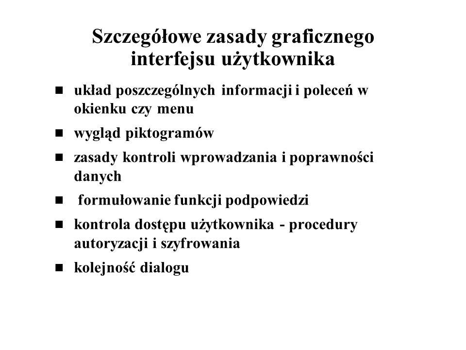 Szczegółowe zasady graficznego interfejsu użytkownika